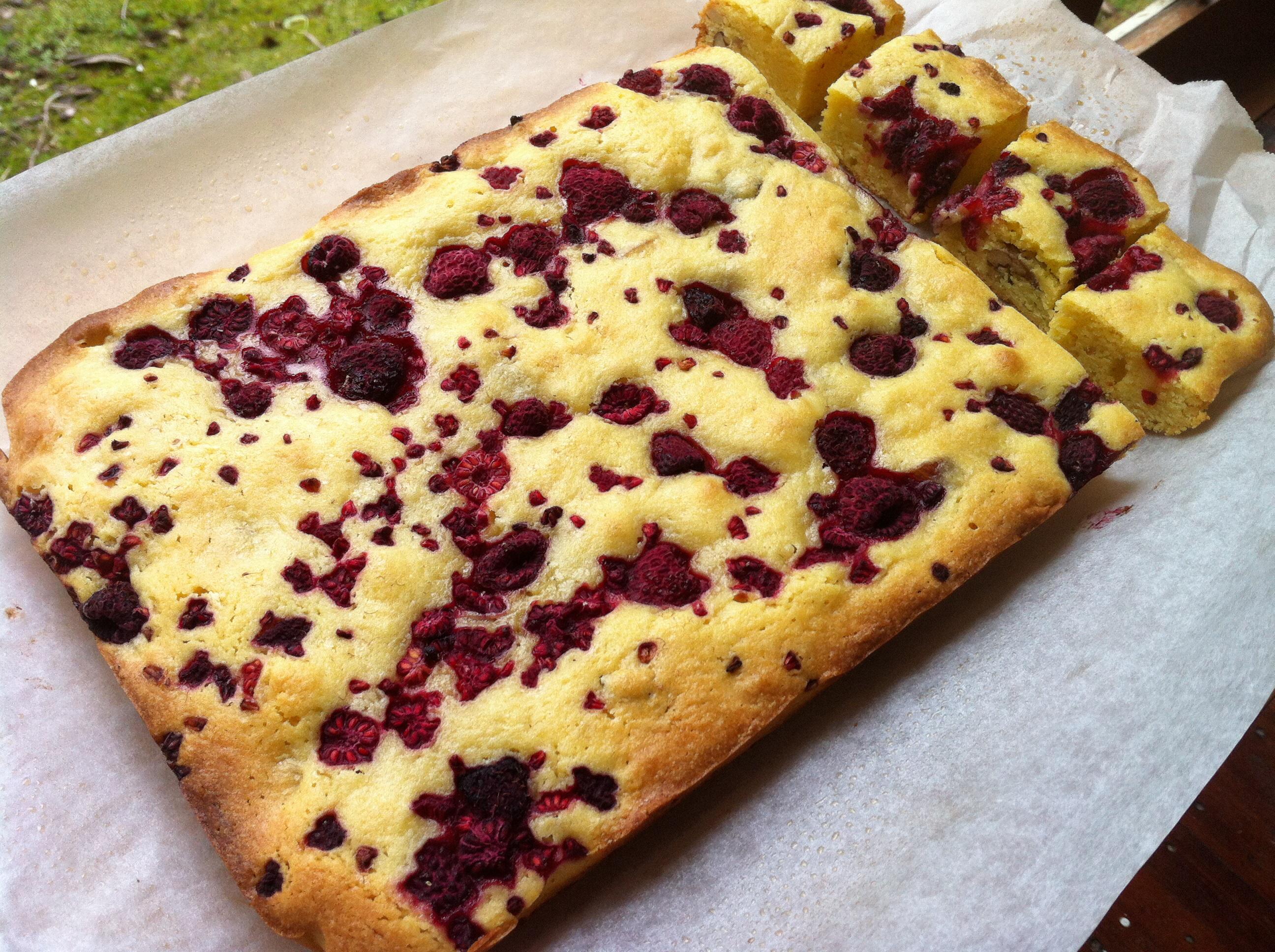 girly slice – Pecan and Raspberry Blondie | The Silver Teaspoon