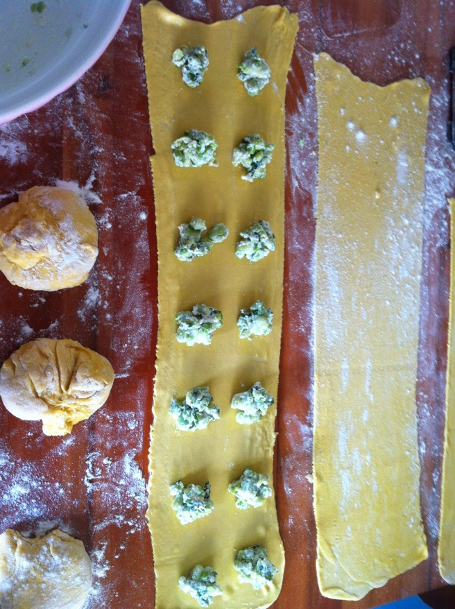 Fresh pasta rolled out and ready for filling